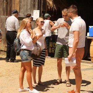 Guests sampling beer