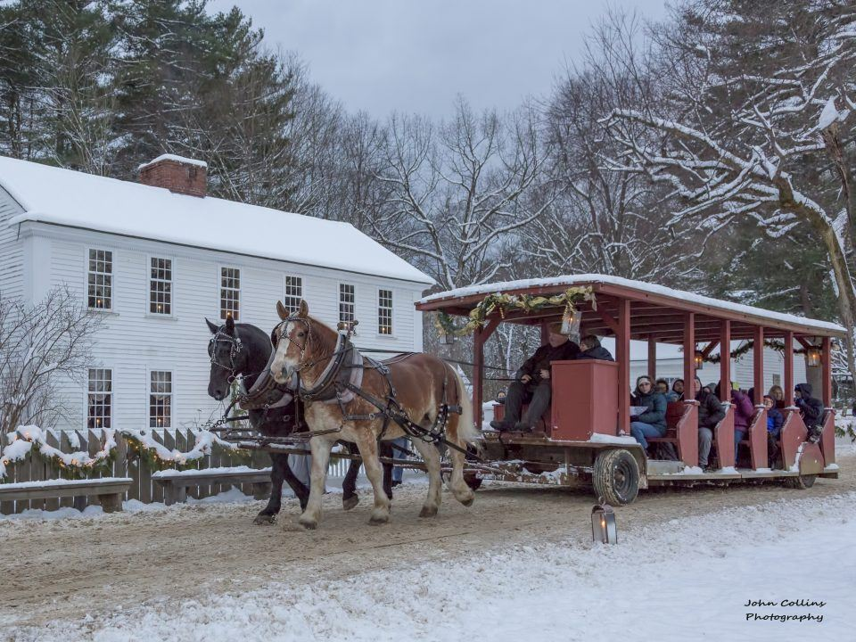 Sit back and ride in a horse-drawn wagon or sleigh