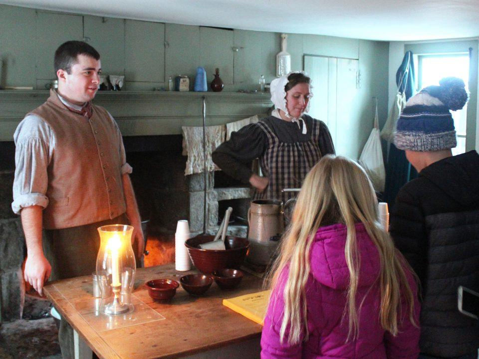 Guests get to see demonstrations like mulling cider the old-fashioned way and taste the sweet results!
