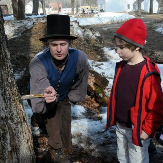 A kid learns how maple sap is harvest