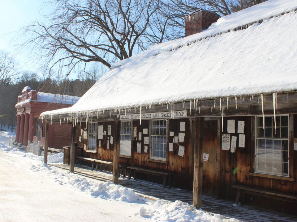 The Miner Grant Store Exterior on a Winter Day