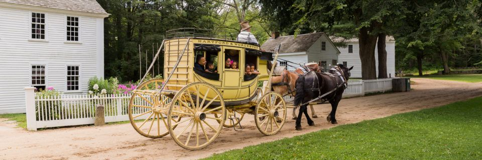 Riding around the Village Common in the Stagecoach