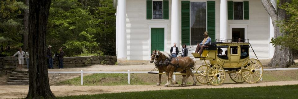 The Stagecoach in front of the Center Meetinghouse at Old Sturbridge Village