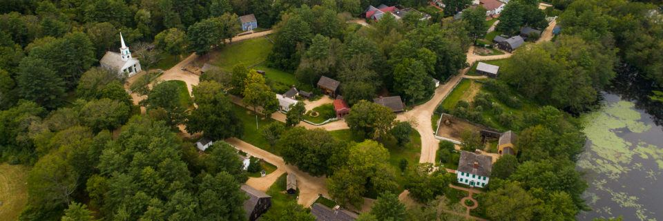 A photo of the Village taken from above with a drone