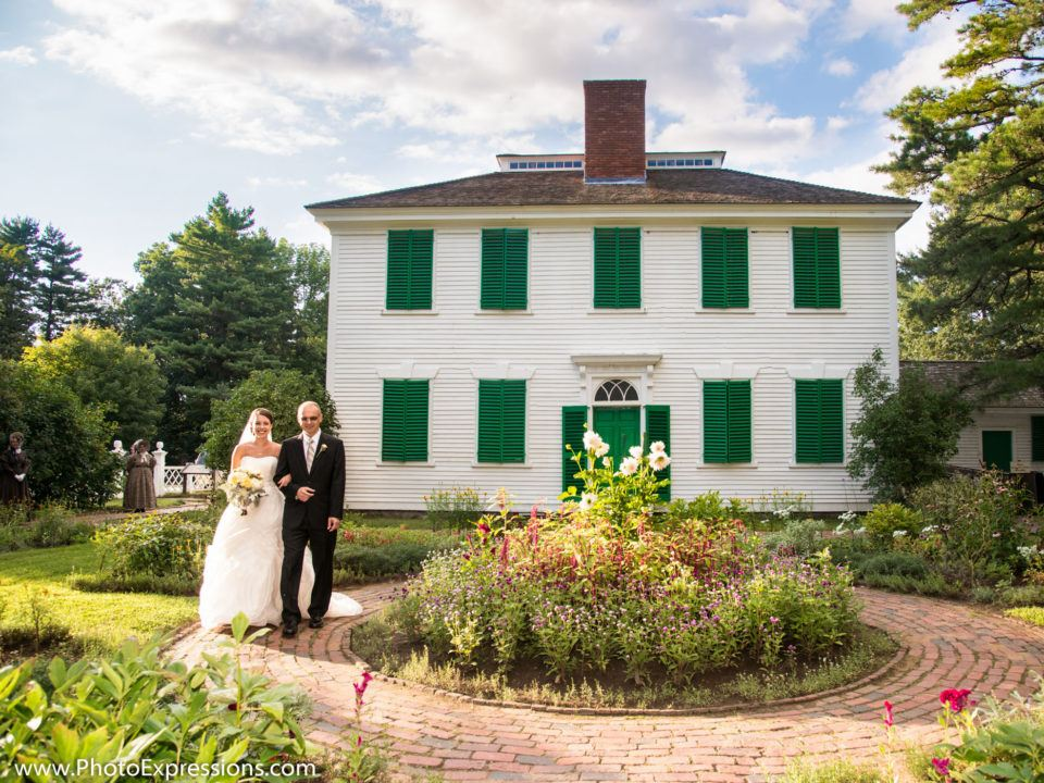A newly married couple takes a walk in the Salem Towne Garden
