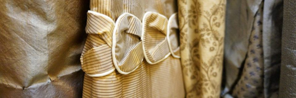 Close up of dress sleeves in the Collections
