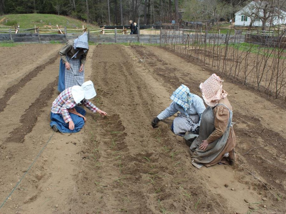 Costumed gardeners plant seeds in the Freeman Garden