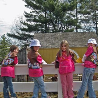 A group of Brownie Girl Scouts