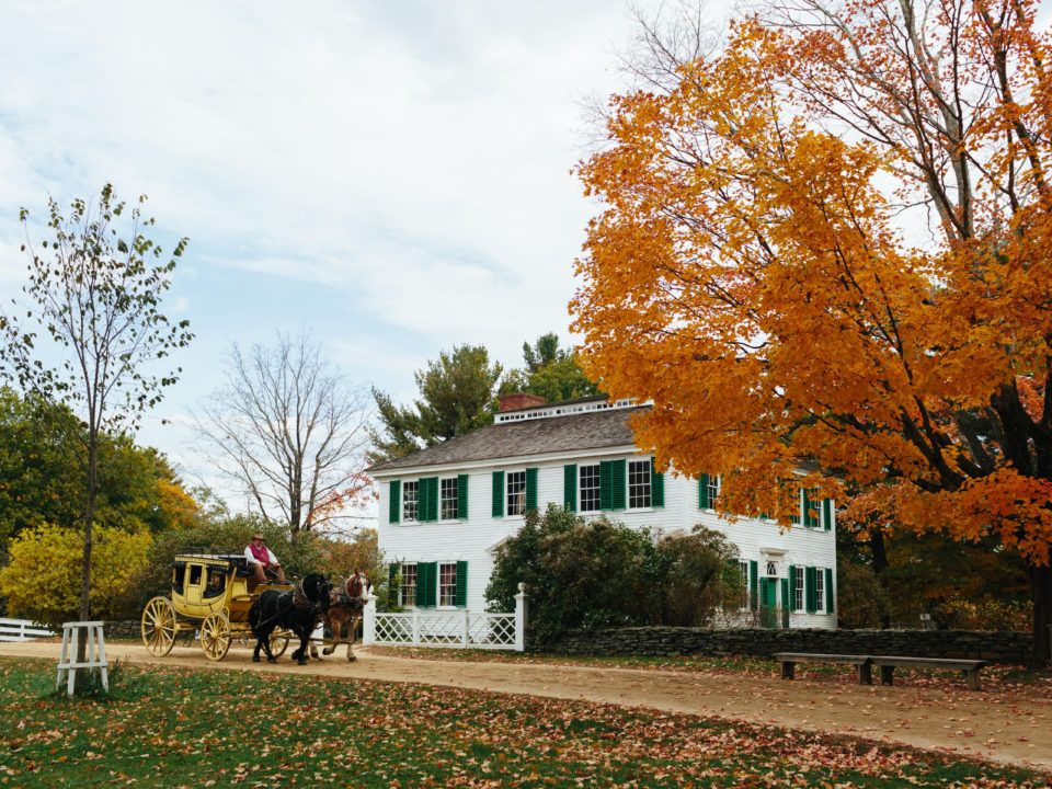 The Salem Towne House and Stagecoach in fall