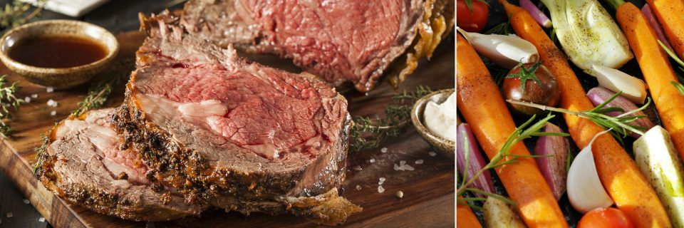 Prime Rib and vegetables