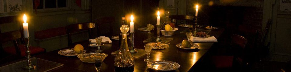 A table lit by candlelight