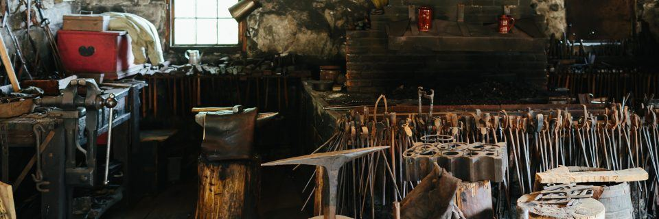 An interior view of the Blacksmith Shop