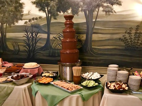 Chocolate fondue fountain on display in the Oliver Wight Tavern