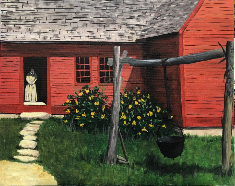 Red farmhouse with yellow flowers and a woman in 1830s attire
