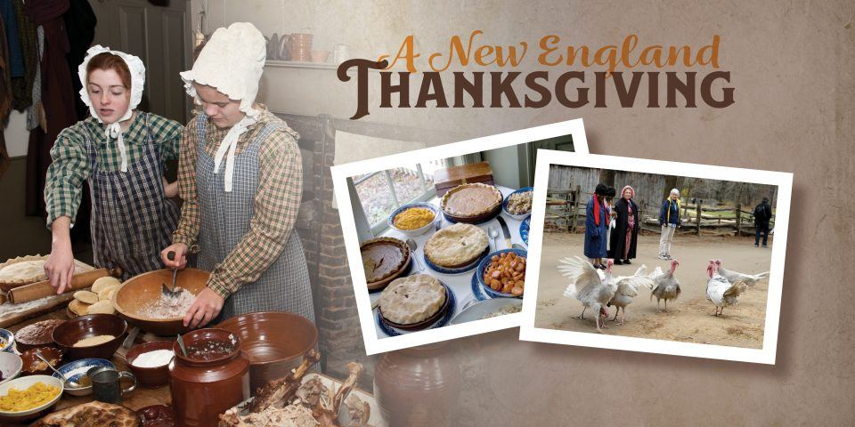 costumed historians preparing for Thanksgiving