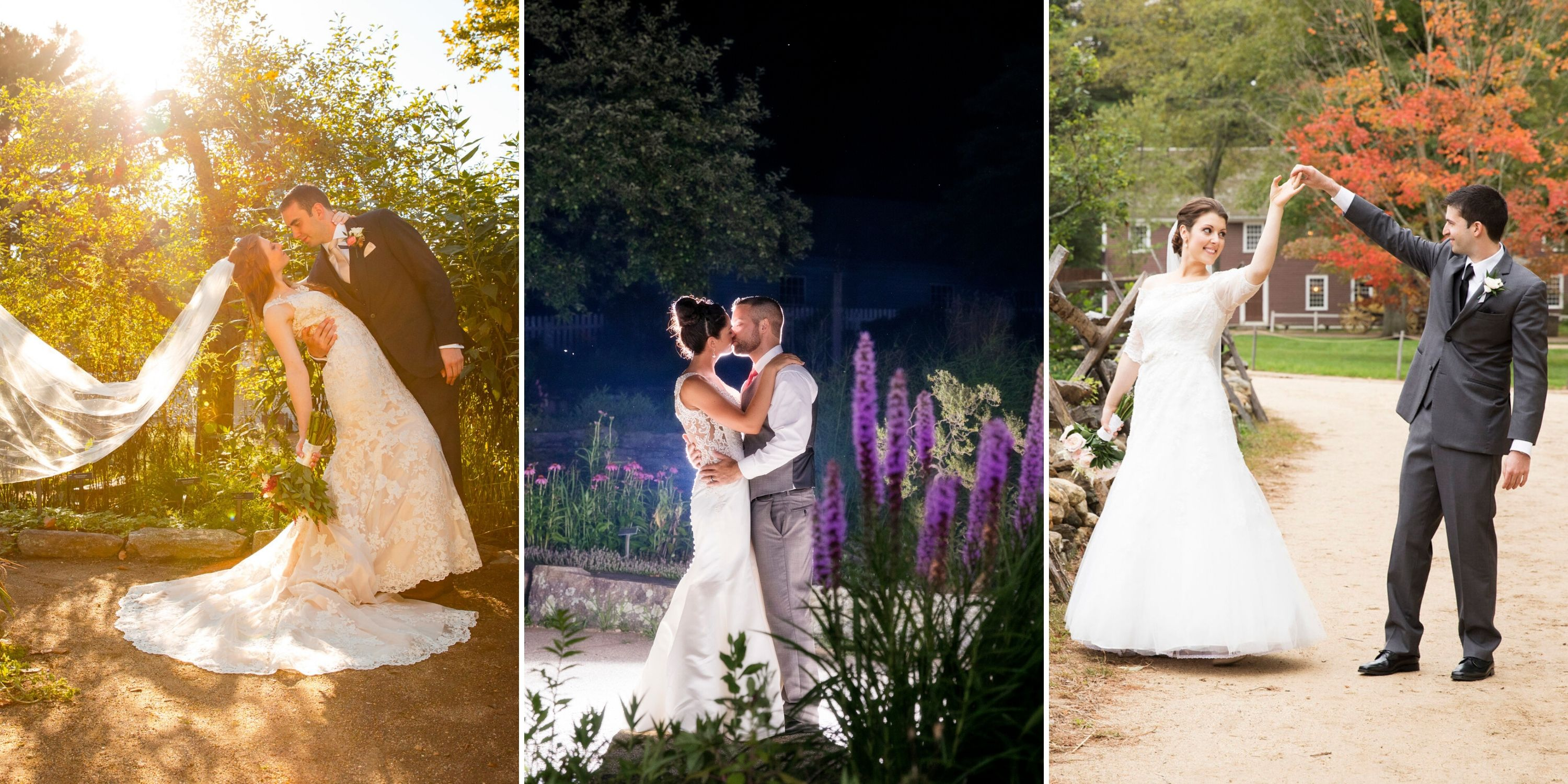 3 Photos of couples at the Village - A couple embraces in a garden, a couple kisses at night in the garden, a couple dances outside in fall