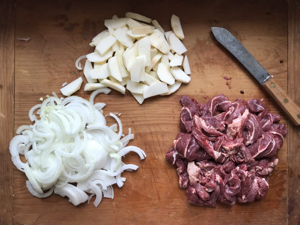 Prepped beef, apples, and onions