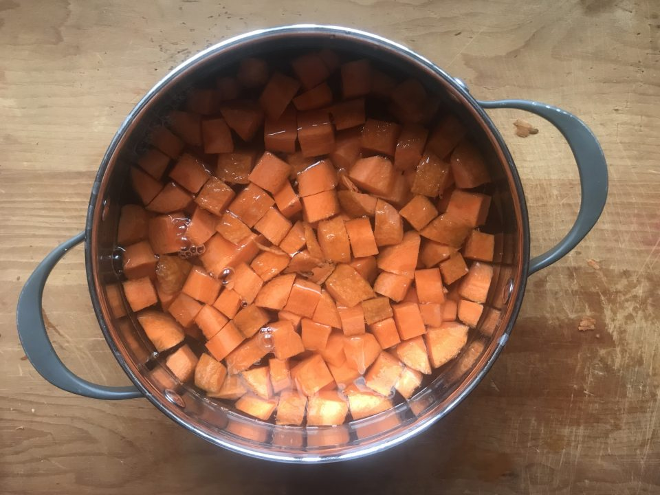 Bring carrots to boil
