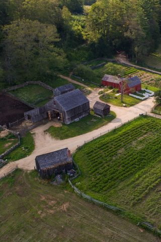 Freeman Farmhouse and barn from above