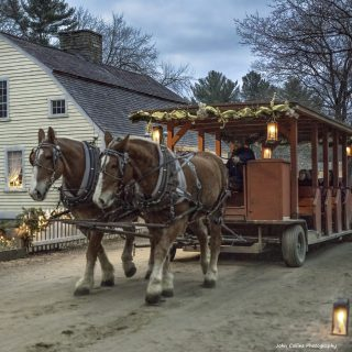 Horse Drawn wagon at Christmas by Candlelight