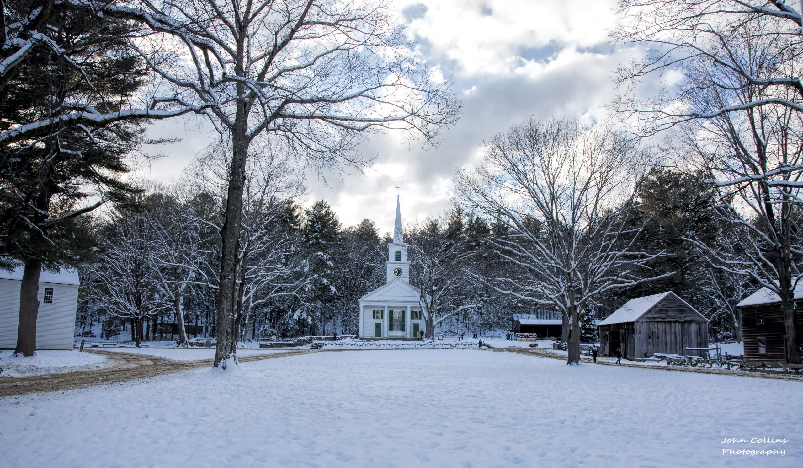 View of the Common and meetinghouse in winter