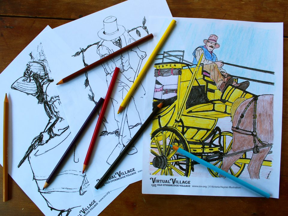 three coloring pages of Village scenes and scattered colored pencils