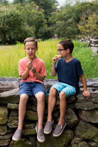 Kids eating ice cream and cookies