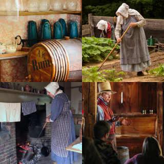 4 photos in a grid: One photo shows a rum barrel and some sugar cones wrapped in blue paper, the second photo shows two costumed historians working the garden, the third photo shows a costumed historian roasting coffee over the fire, and the fourth photo shows a costumed historian in the Gristmill chatting with visitors