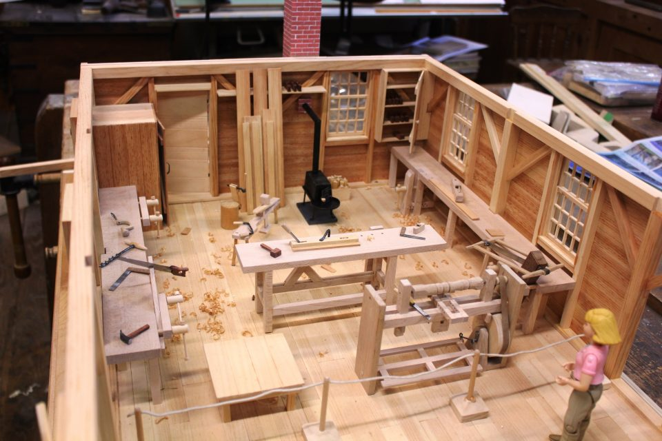 Interior view of the scale model of the Cabinetmaking shop