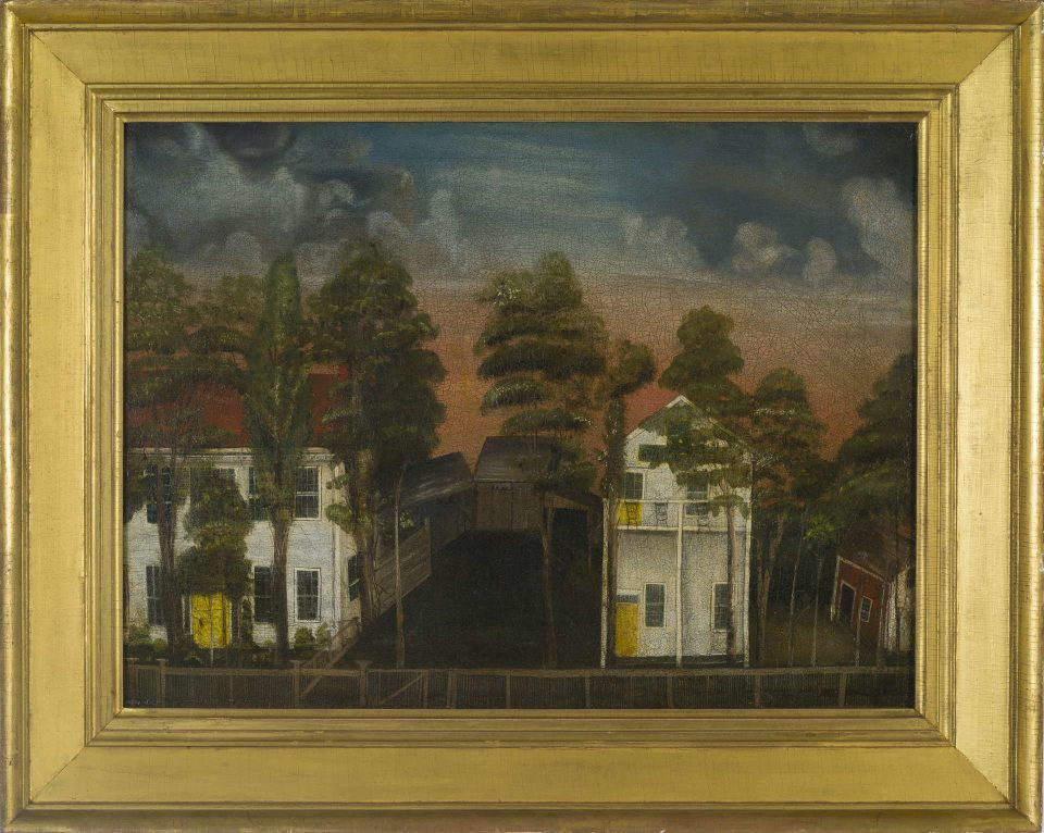 landscape painting in a gold framedepicting the home and shop of chair maker G. Bradley of Fairfield, Connecticut